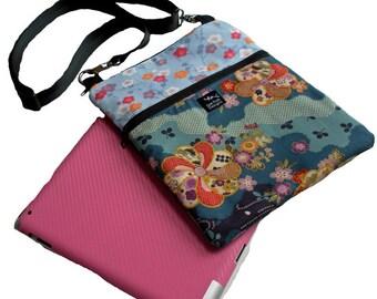 Blue Purple Asian Japanese Flowers Cherry Blossoms Ipad Nook Kindle Messenger Passport Bag Purse Sling Washable-Asian Festival