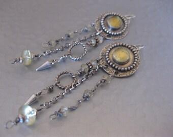 Long Sterling Silver Chandelier Earrings with Lemon Quartz