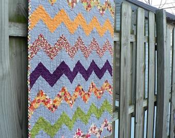 Reversible, chevron, zigzag modern quilt