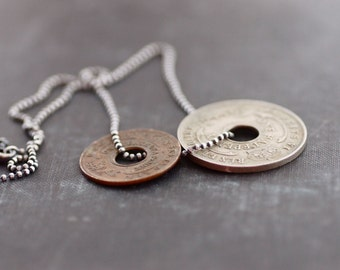 Old Vintage Coins on Sterling Silver Ball Chain