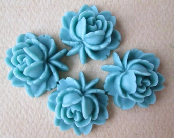 4PCS - Rose Flower Cabochons - Resin - Blue - 17x18mm Cabochons by ZARDENIA