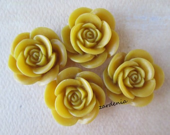4PCS - Rose Flower Cabochons - 18mm - Yellow - Cabochons by ZARDENIA
