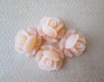 4PCS Mini Cabbage Rose Flower Cabochons,12mm Resin Roses, Pale Peach Rose Cabochons, Peach Rose Cabochons, Diy Jewelry, Zardenia