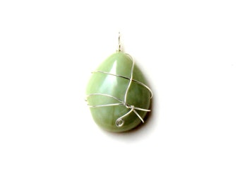 spring pendant / wire wrapped light green gemstone sterling silver wire wrapped  FREE domestic SHIPPING adventurine gemstone