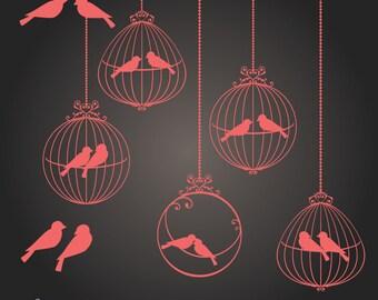 Love Birds in Ornamental Birdcages - Coral Pink - Digital Clip Art