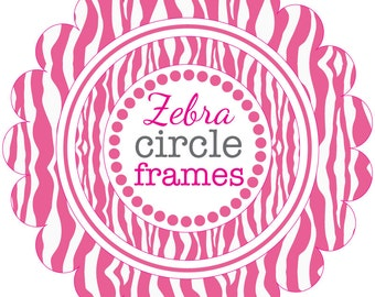 Circle Frames in Pink Zebra Pattern - Digital Clip Art