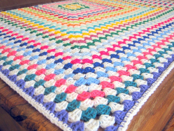 SALE JOY Sublime Traditional Large Granny Square Crochet Blanket Afghan