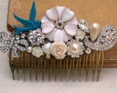 Blue Hair Comb Vintage Wedding Hair Comb Wedding Collage Hair Comb, Maid Of Honor, Bridesmaids Gifts Something Old Something Blue