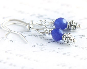 Birthstone Earrings, Sterling Silver Wire Wrapped Blue Sapphire, Tiny Dainty Little Earrings, Dangle Earrings, Modern Earrings