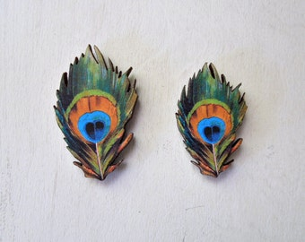 Peacock Feather Magnet - Laser Cut Wood Peacock Feather Magnets