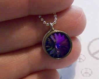 Heliotrope Swarovski Crystal Bullet Pendant