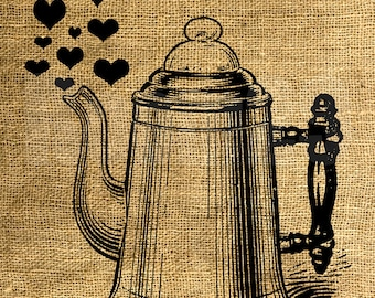 INSTANT DOWNLOAD Vintage Coffee Pot with Hearts - Download and Print - Image Transfer - Digital Sheet by Room29 - Sheet no. 854