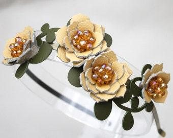 Bridal hair flower headband yellow headband wedding hairpiece leather headband with crystal beads woodland wedding prom wearable art