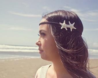 Double Starfish Headband Mermaid Hair Accessories Beachy Beach Boho Bohemian Hippie Hipster Ariel Costume Nautical Unique Womens Gift Summer