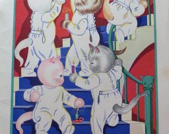 Vintage Ruth Newton Childrens Nursery Rhyme Book Print-Bedtime Kittens-Book Plate