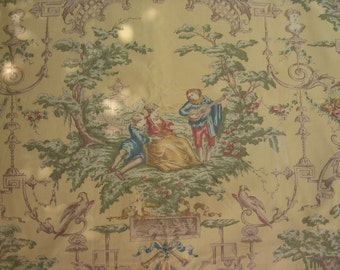 Antique French Silk Drapery Panel with French Classical Pastoral Toile Scene