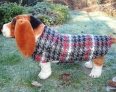 Grey Black Red and White  Houndstooth Coat- Size Medium- 16 to 18 Inch Back Length - Or Custom Size
