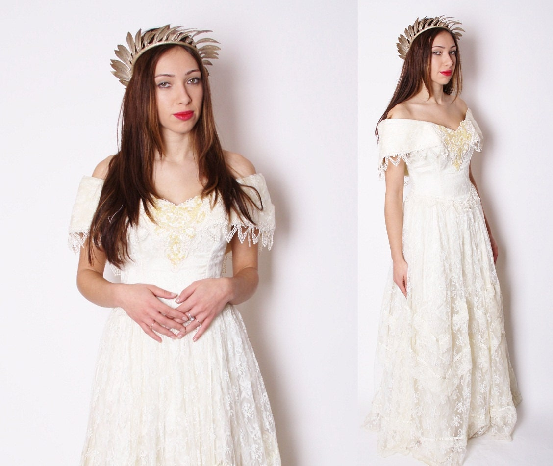 Vintage 1980s Jessica McClintock Bridal Wedding Dress