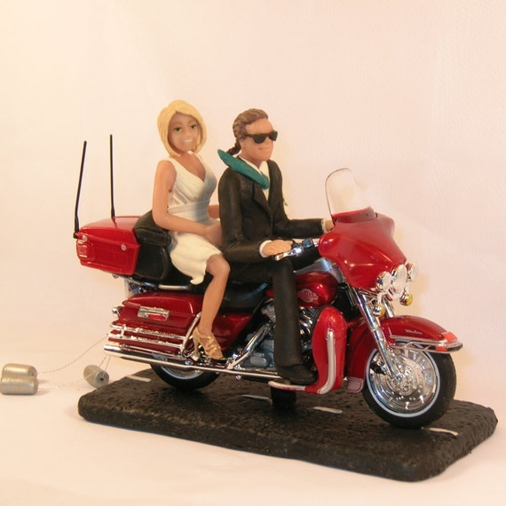 motorcycle cake topper items similar to motorcycle wedding cake topper groom 6052
