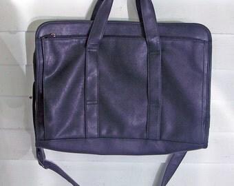 Vintage Satchel Briefcase Attache Laptop Case Soft Leather-Like