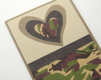 Love Card Note Card Masculine Camouflage Green and Brown Asymmetric Heart Blank Inside