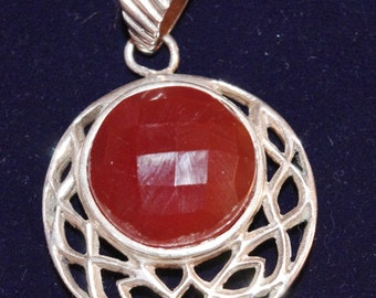 Fabulous - Chunky Sterling Silver and faceted cut Cornelian Stone - Celtic mount Pendant