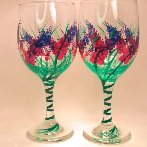 items similar to hand painted wine glasses on etsy
