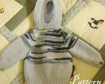 Pattern for Knitted Hooded Baby Sweater with Back Zipper PDF