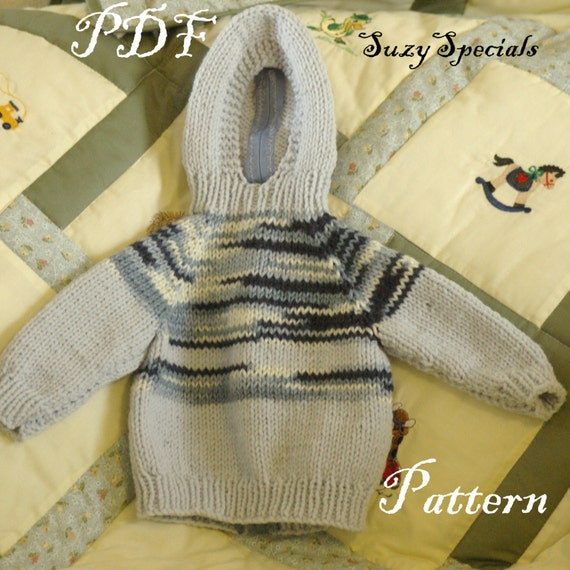 Zippered Hoodie Knitting Pattern : Pattern for Knitted Hooded Baby Sweater with Back by ...