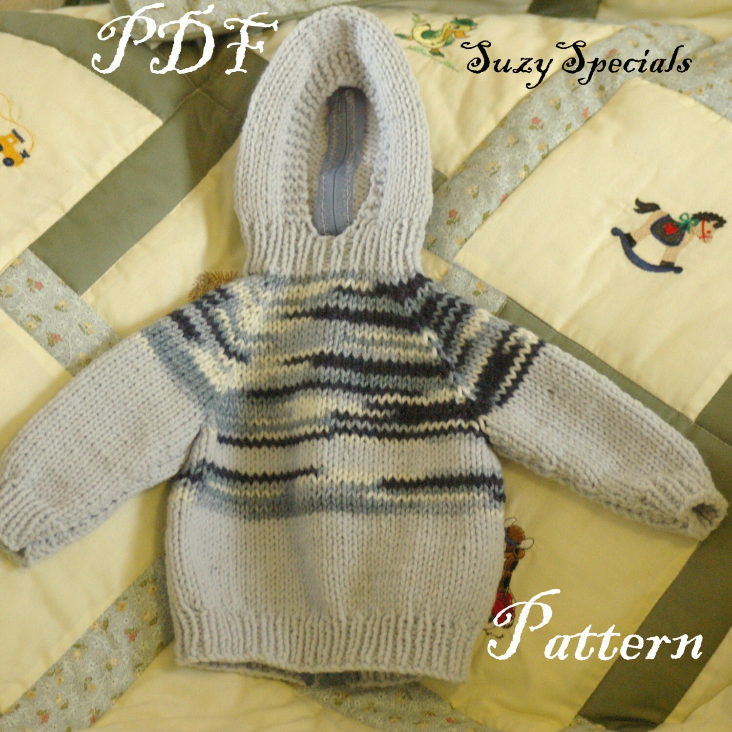 Knitting Pattern For Child s Hooded Sweater : Pattern for Knitted Hooded Baby Sweater with Back by ...