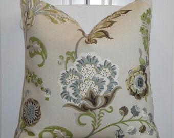 BOTH SIDES - KRAVET - Decorative Pillow Cover - Green - Khaki - Gray - Pale Blue - Toss Pillow
