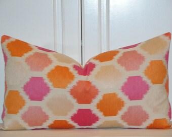 Decorative Pillow Cover - IKAT -  Accent Pillow - Throw Pillow - Geometric - Orange - Pink