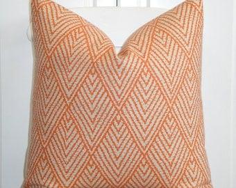 BOTH SIDES - Decorative Pillow Cover - Tangerine Orange - Brown -  Sofa Pillow - Trellis Pillow - Lattice - Geometric
