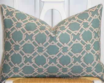Decorative Pillow Cover  - Teal - Oatmeal - Grey - Trellis Pillow - Lattice - Geometric