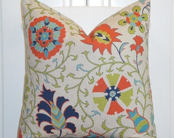 Decorative Pillow Cover - Floral Suzani - Orange - Teal - Citrine - Navy Blue - BOTH SIDES Or Front Only