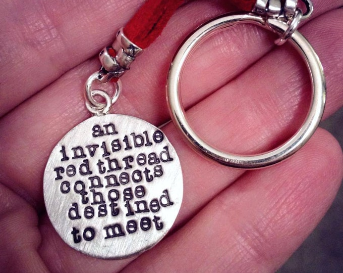 An Invisible Red Thread...an Adoption Keychain - Solid Sterling & Leather
