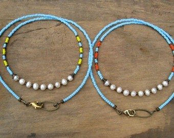 Colorful Bohemian Pearl Necklace with freshwater pearls, light blue seed beads and your choice of yellow or orange accents