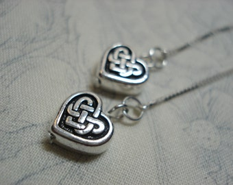 Celtic Hearts on Sterling Ear Threads-Threader Earrings-Necklace-FREE SHIPPING To U.S.-