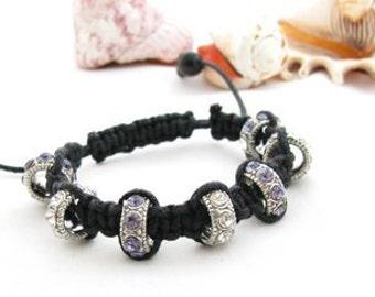 Sparkly Purple Shambala Bracelet