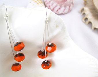Orange Sterling Silver Earrings