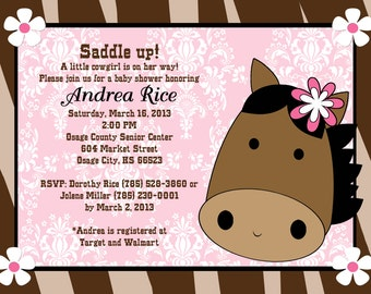 Cowgirl Birthday Invitation - Printable or Printed - Cowgirl Baby Shower Invitations - Horse Birthday Invitation - Horse Baby Shower Invite