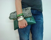 Green Faux Leather and Leopard FoldOver Clutch Purse