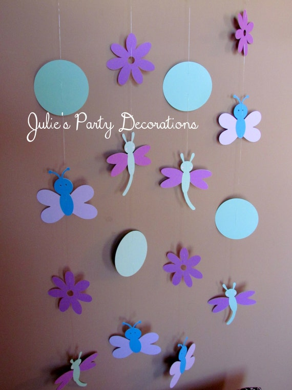 1 Spring Garden Birthday party Dragonflies and Butterflies Hanging decoration