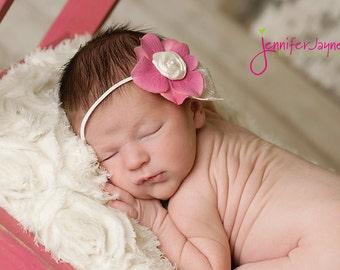 baby headband, newborn headbands, newborn headband, vintage flower headband, pink headband