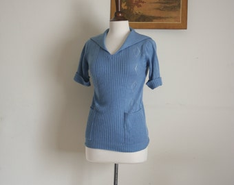 vintage Cornflower blue 50's collar sweater blouse