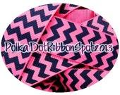Chevron Ribbon 5 yards- 7/8 inch Hot Pink and Navy Chevron printed grosgrain ribbon- hair bow craft ribbon