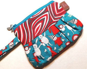 Wristlet, Clutch, Cell Phone Case, Blue and Orange Print