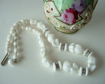 VIntage Antique  CZECH White Rose Glass Bead Necklace Early West Germany Rhinestone Channel Beads