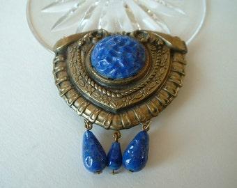 Vintage Blue Glass Retro Brass Pin Brooch Steampunk Blue Molten Glass Cabochon Dangle Beads