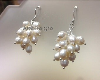 Cluster Freshwater Pearl Earrings with .925 Sterling Silver Earwires (MaLai2-NP) g46001